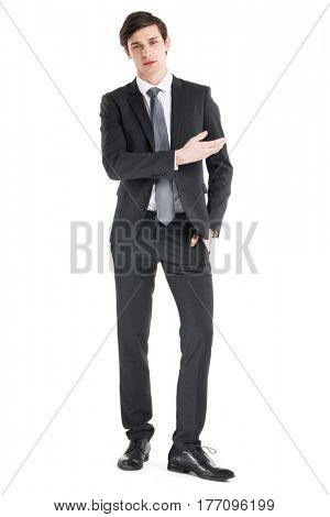 Business man shows you copy space isolated on white background