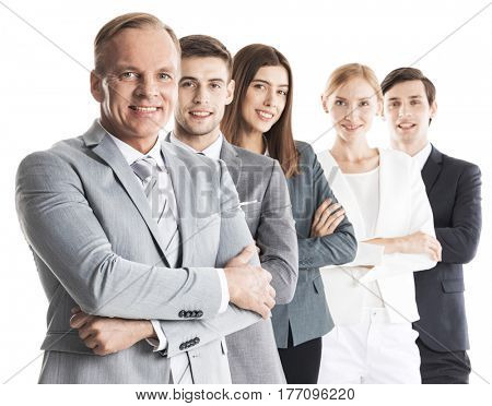 Group of confident smiling business people standing together in a row with crossed hands, isolated on white background