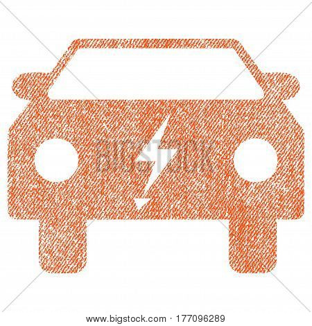 Electric Power Car vector textured icon for overlay watermark stamps. Fabric orange vectorized texture. Symbol with scratched design. Rubber seal stamp with fiber textile structure.