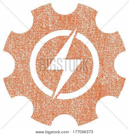 Electric Power Cog Gear vector textured icon for overlay watermark stamps. Fabric orange vectorized texture. Symbol with scratched design. Rubber seal stamp with fiber textile structure.