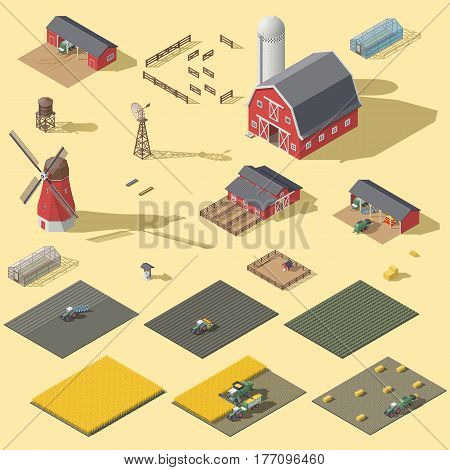 Elements of the infographic of the agrarian industry isometric icon set vector graphic illustration