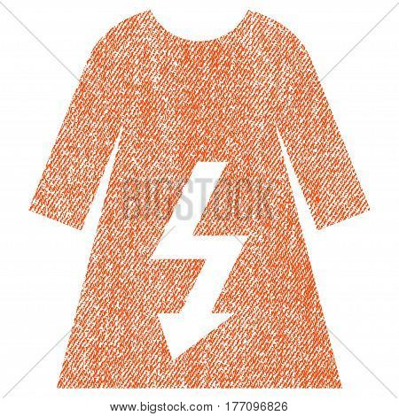 Electric Woman Dress vector textured icon for overlay watermark stamps. Fabric orange vectorized texture. Symbol with unclean design. Rubber seal stamp with fiber textile structure.
