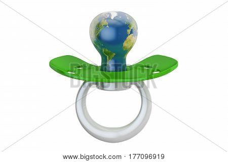 Baby pacifier with Globe Earth eco concept. 3D rendering