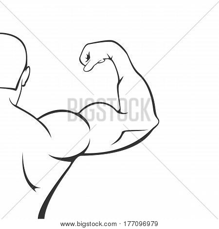 Half of the silhouette of a muscular man, black icon isolated on white background, illustration.