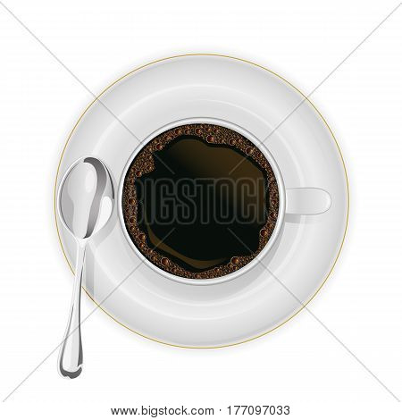 Coffee cup with spoon on a saucer isolated on white background, illustration.