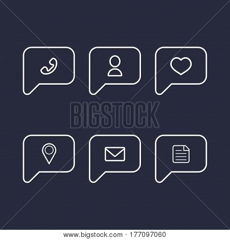 Vector information and notification icons in flat style