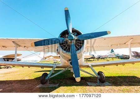TOGLIATTI RUSSIA - MAY 2 2013: The Antonov An-2 a Soviet mass-produced single-engine biplane at an field aerodrome in summertime