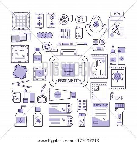 Vector set of first aid kit box , medical equipment and medications for emergency isolated in white background. Top view. Medical icons set in modern linear style.