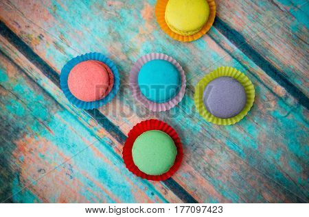 Multicolored Macaroon On Blue Table