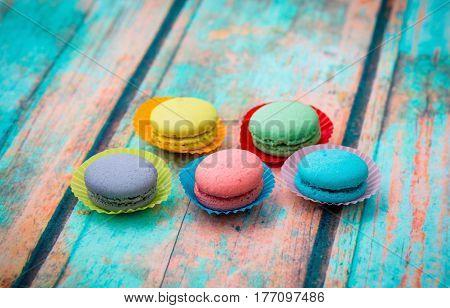 Macaroon Cookies On Blue Table