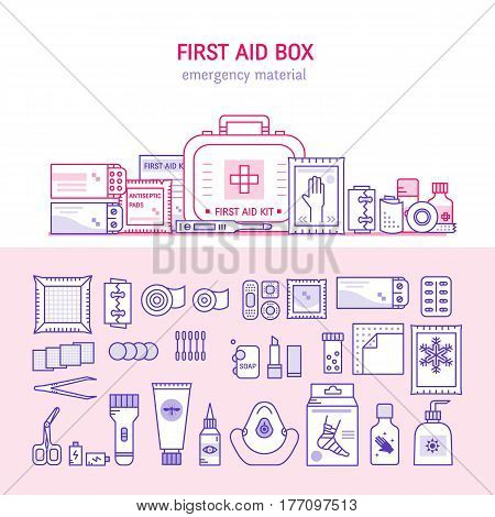 Vector first aid  box concept for web design, medical equipment and medications for emergency isolated in white background. Medical icons set in modern liner style.