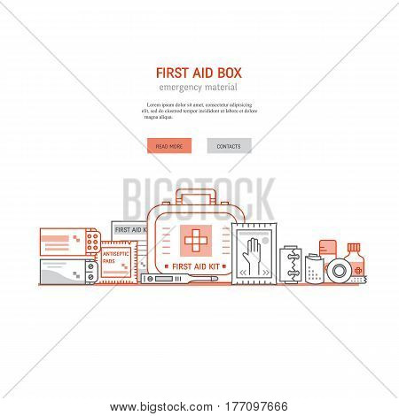 Web page design template with text, first aid kit , medical equipment and medications for emergency isolated in white background. Vector medical icons set in modern liner style.