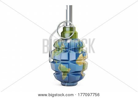 Earth grenade 3D rendering isolated on white background