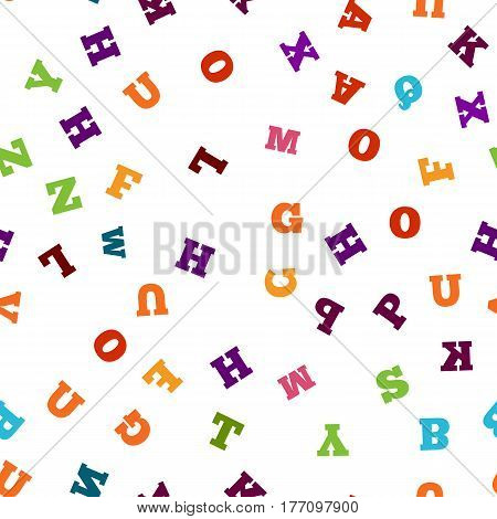 Colorful letter pattern on white background. Vector illustration for education design. Seamless pattern bright color letters random flying. Alphabet book concept for grammar school. Letter wallpaper