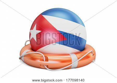 Lifebelt with Cuba flag safe help and protect concept. 3D rendering