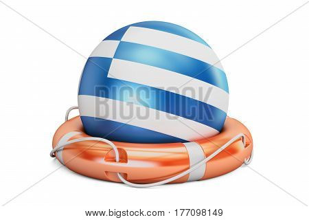 Lifebelt with Greece flag safe help and protect concept. 3D rendering