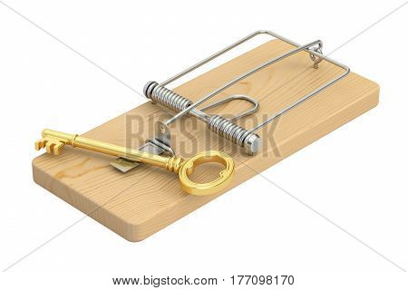 mousetrap with key 3D rendering isolated on white background