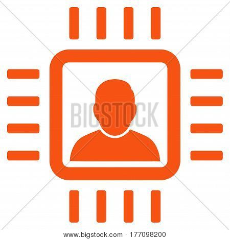Neuro Processor vector icon. Flat orange symbol. Pictogram is isolated on a white background. Designed for web and software interfaces.