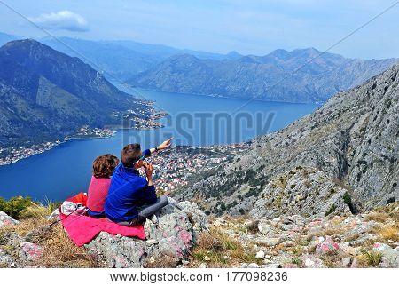 Kids at the mot op the bay of Kotor Montenegro