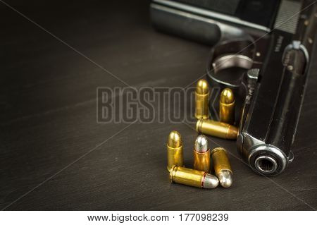 Right to bear arms. Arms control. Detail on the gun. Place for your text. Sales of firearms