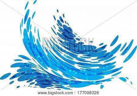 Wave splashes isolated on white background, vector illustration