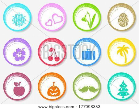 Colorful vector calendar circle month symbols stickers collection