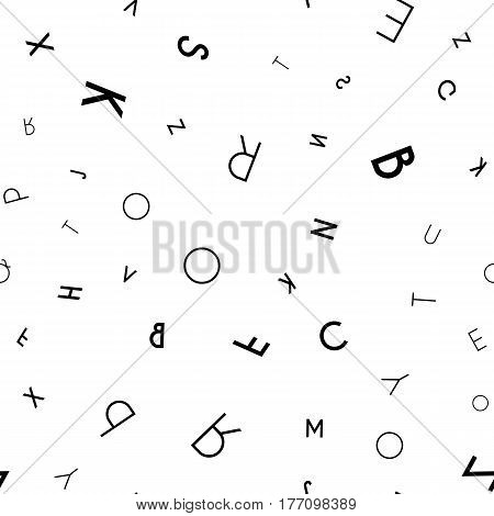 Black letter pattern on white background. Vector illustration for education design. Seamless pattern letters random flying. Alphabet book concept for grammar school. Letter wallpaper