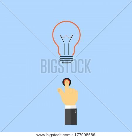The hand presses the light button. The concept of innovation of new discoveries. Vector illustration .