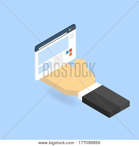 Hand and website page. The concept of site management. Vector illustration .