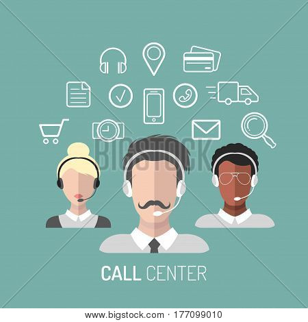 Vector illustration of customer service, call center operators icons with headsets