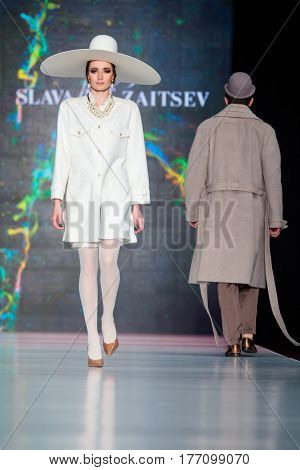 MOSCOW RUSSIA - MARCH 12 2017: Model walk runway for SLAVA ZAITSEV catwalk at Fall-Winter 2017-2018 at Mercedes-Benz Fashion Week Russia.