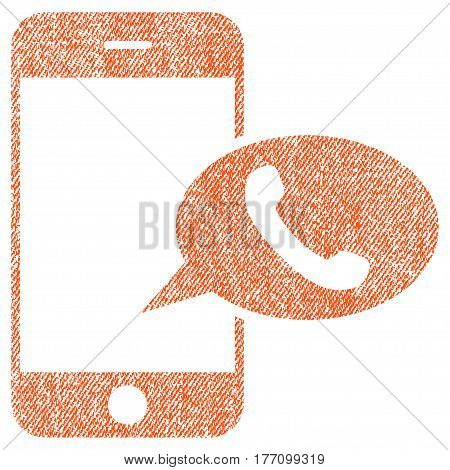 Smartphone Call Balloon vector textured icon for overlay watermark stamps. Fabric orange vectorized texture. Symbol with unclean design. Rubber seal stamp with fiber textile structure.