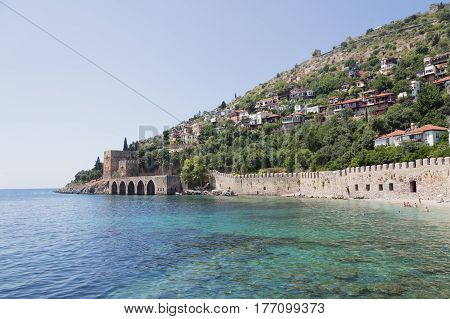 Medieval Castle Wall And Shipyard Of Alanya