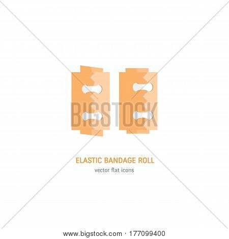 Vector flat Icon of Elastic Bandages Rolls isolated on white background. Medical equipment icons.