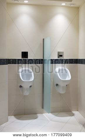 Urinal in men's room of a luxury hotel