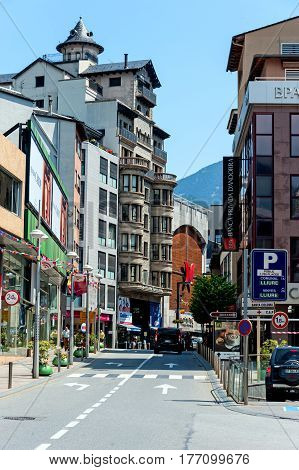 Andorra La Vella, Andorra - August 5, 2014: Street scene in downtown of the capitol of Andorra