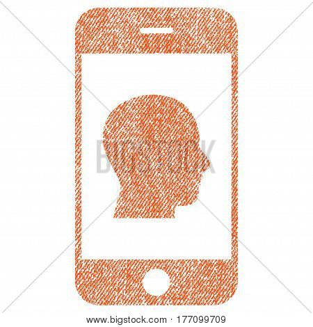 Smartphone Contact Human Portrait vector textured icon for overlay watermark stamps. Fabric orange vectorized texture. Symbol with scratched design. Rubber seal stamp with fiber textile structure.