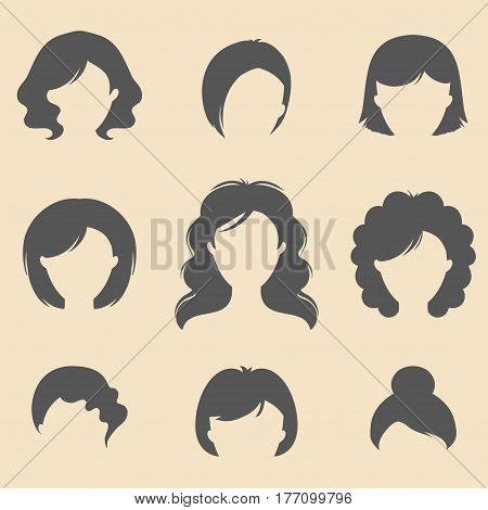 Vector set of different women fancy haircuts icons in trendy flat style. Female faces icons