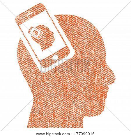 Smartphone Head Plugin Recursion vector textured icon for overlay watermark stamps. Fabric orange vectorized texture. Symbol with unclean design. Rubber seal stamp with fiber textile structure.