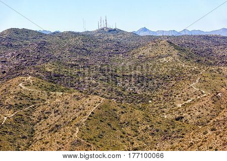 Radio and Television Towers atop South Mountain in Phoenix Arizona