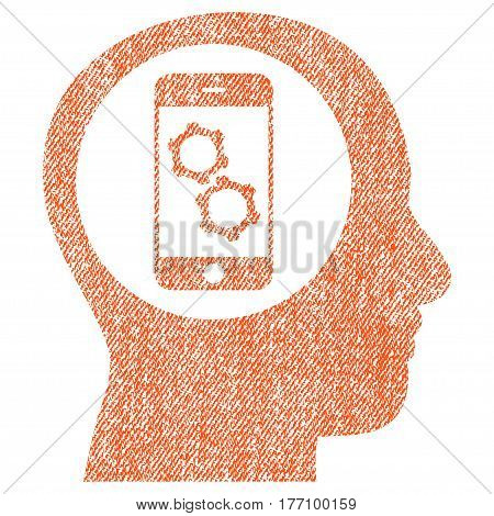 Smartphone Mind Control vector textured icon for overlay watermark stamps. Fabric orange vectorized texture. Symbol with scratched design. Rubber seal stamp with fiber textile structure.