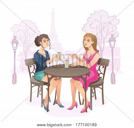 Young women drinking coffee in Paris near Eiffel Tower. Cartoon characters decorative Isolated vector illustration.