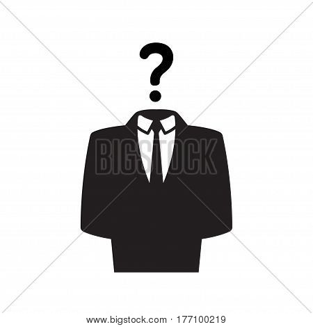 Anonymous icon person in business suit with question mark. Internet security concept vector illustration.
