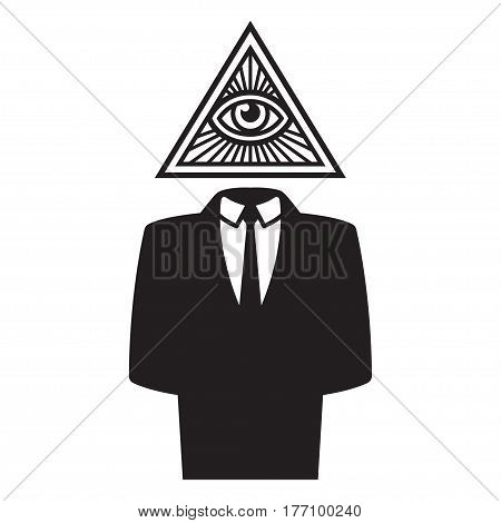 Illuminati conspiracy theory illustration. Man in black business suit with All Seeing Eye in triangle symbol.