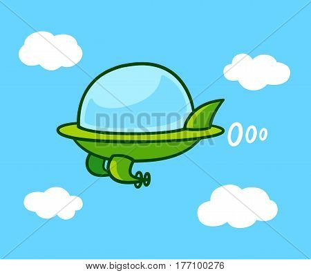 Cute cartoon futuristic flying car in sky. Green UFO shaped aircraft vector illustration.