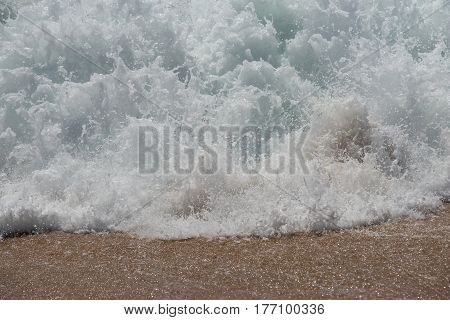 Sand Background With Wave. Beautiful Sand Background And Wave From Sea. Sand Texture Background. Clo