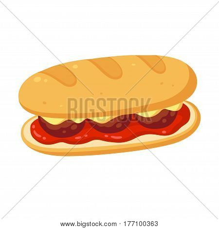 Sub sandwich with meatballs cheese and tomato marinara sauce. Vector clipart ilustration.