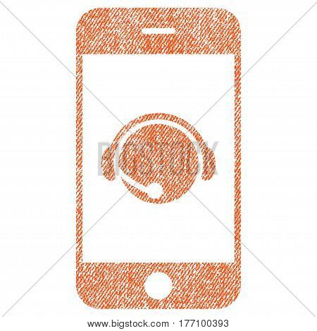 Smartphone Operator Contact Head vector textured icon for overlay watermark stamps. Fabric orange vectorized texture. Symbol with dirty design. Rubber seal stamp with fiber textile structure.
