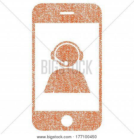 Smartphone Operator Contact Portrait vector textured icon for overlay watermark stamps. Fabric orange vectorized texture. Symbol with dust design. Rubber seal stamp with fiber textile structure.
