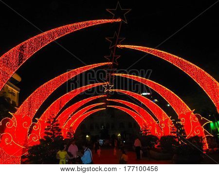 Tet Lunar New Year celebrations in the Central Park of the Communism in Saigon at Vietnam